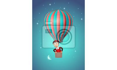Hot Air Balloon, Man and Moon