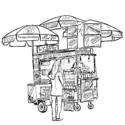 Hot dog street cart w Nowym Jorku