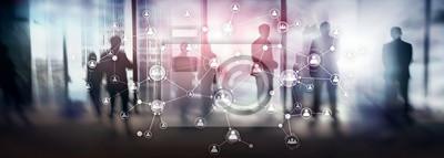 Fototapeta HR human resources management concept corporate organisation structure mixed media double exposure virtual screen