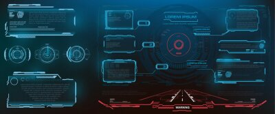 Fototapeta HUD, UI, GUI futuristic frame user interface screen elements set. Set of futuristic vector pop-up screens with information. Holographic screens with frame for video games