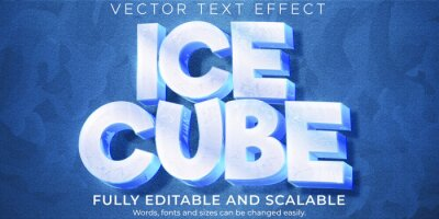 Fototapeta Ice frozen text effect, editable cold and frost text style