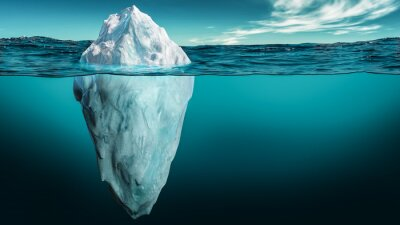Fototapeta Iceberg with its visible and underwater or submerged parts floating in the ocean. 3D rendering illustration.