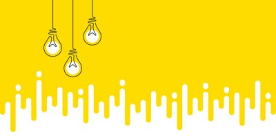 Fototapeta Idea light bulbs silhouette. Lamp icons on yellow transition background. Continuous line lightbulbs with light. Creative idea sketch background. Handdrawn electric bulb. Melting lines pattern. Vector