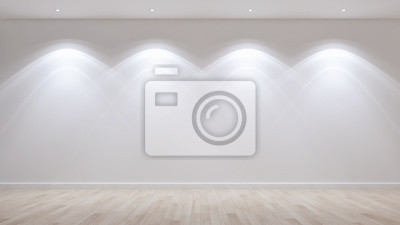 Fototapeta Idea of a white empty scandinavian room interior illustration 3D rendering with wooden floor and large wall and white. Background interior. Home nordic