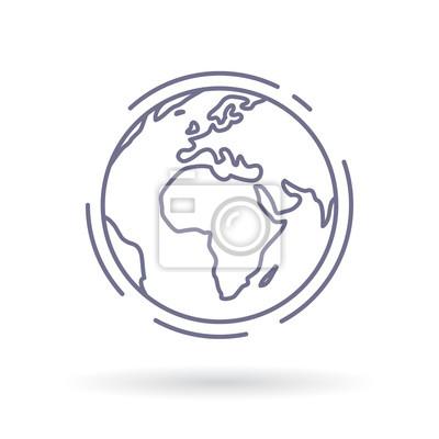 Fototapeta Ikona globu. Znak ziemi. Symbol świata. Prosta cienka linia ikona na białym tle. Ilustracji wektorowych.