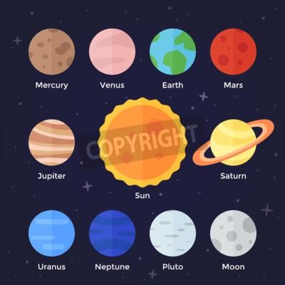 Fototapeta Ikona płaskim wektor zestaw planety Układu Słonecznego słońce i księżyc na ciemnym tle kosmicznej
