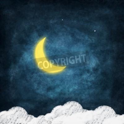 Fototapeta ikona pogoda rysowania na tablicy, w porze nocnej, księżyc uśmiech