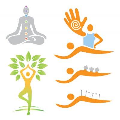 Fototapeta Ikony joga masaż medycyna alternatywna