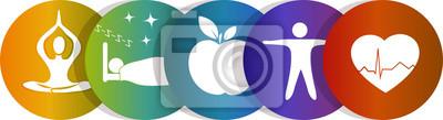 Fototapeta Ikony opieki zdrowotnej, kolor tęczy
