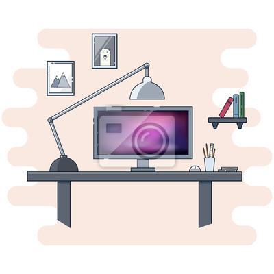 Ikony płaskie wzornictwo dla nowoczesnych koncepcji biura domowego. Miejsce pracy dla projektantów graficznych i fotografów w bannerach internetowych i prezentacjach.