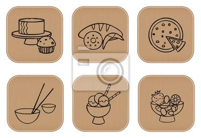 Ikony żywności i desery restauracji