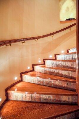 Fototapeta Illuminated wooden stairs