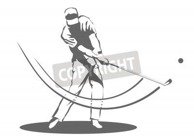 Fototapeta Illustration of a man swinging a golf club