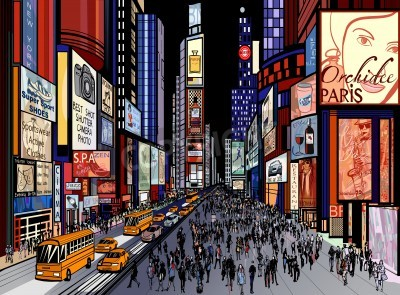 Fototapeta Illustration of a night view of times square in New York (all ads are imaginary)