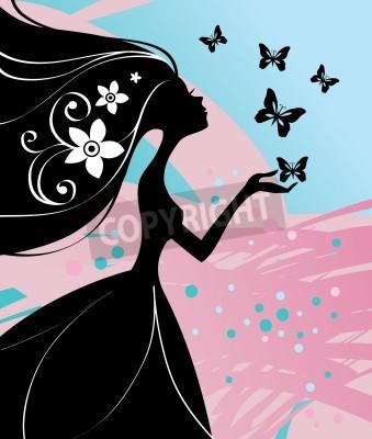 Fototapeta illustration of beautiful girl with butterfly