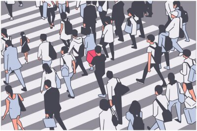 Illustration of busy city crowd crossing zebra