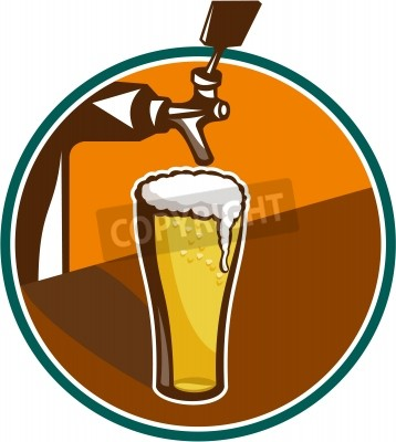 Fototapeta Illustration of glass pint of beer with tap in background set inside circle.