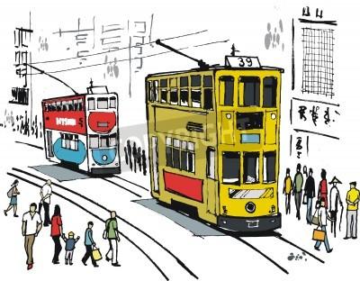 Fototapeta Illustration of Hong Kong trams in city