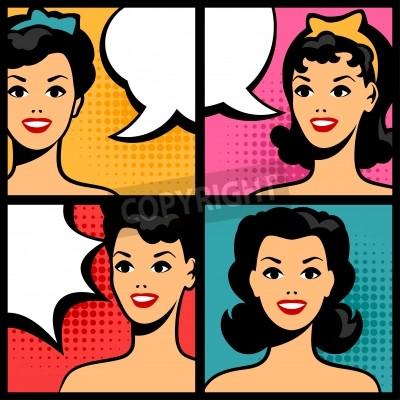 Fototapeta Illustration of retro girls in pop art style.