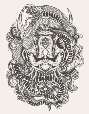 Fototapeta illustration oni mask with snake monochrome style