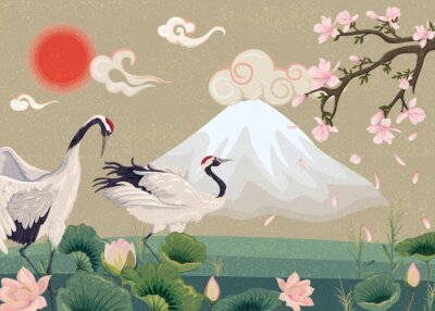 Fototapeta Illustration with cranes at sunset. Oriental illustration with blooming magnolia