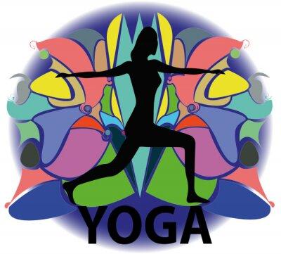 Fototapeta illustrazione di donna in posizione jogi
