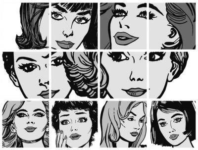 Fototapeta Ilustraciones con Primeros planos del Rostro de Mujeres