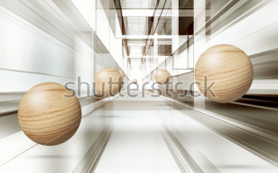 Fototapeta Ilustracja 3D brown sfery wzór na dekoracyjnej tła 3D tapecie. Graficzna sztuka współczesna
