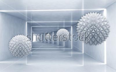Ilustracja 3d Crystal Ball Wzór Na Dekoracyjne Srebrne Tło 3d Fototapety Redro
