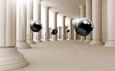 Fototapeta Ilustracja 3D czarny wzór piłki na tle tapety dekoracyjne 3D. Graficzna sztuka współczesna