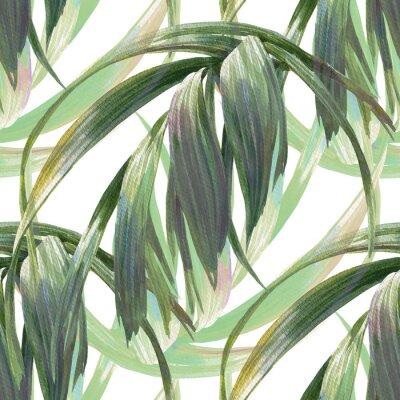 Fototapeta Ilustracja akwarela liścia, bez szwu wzorca na białym tle