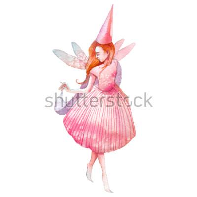 Fototapeta Ilustracja akwarela wróżki. Ręcznie malowane postać z bajki na białym tle. Składa dziewczyna ze skrzydłami sztuki