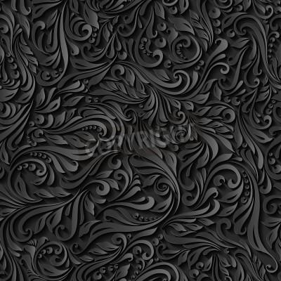 Fototapeta Ilustracja bez szwu abstrakcyjne czarny kwiatowy wzór winorośli
