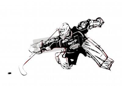 Fototapeta Ilustracja bramkarz hokeja na lodzie