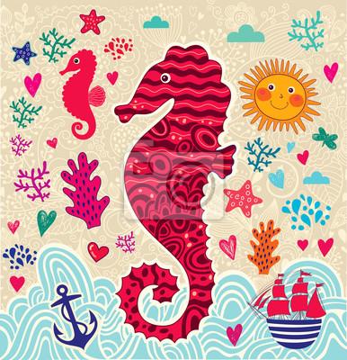 Ilustracja cartoon marine z konika morskiego