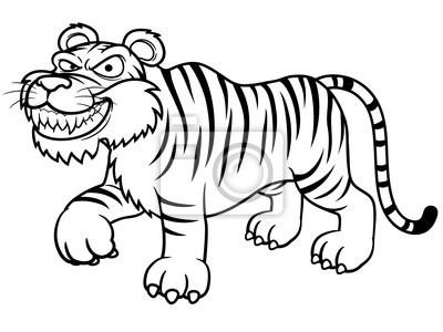 Fototapeta Ilustracja Cartoon Tygrys Kolorowanka Na Wymiar
