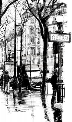 Fototapeta Ilustracja - Deszczowy dzień w Paryżu
