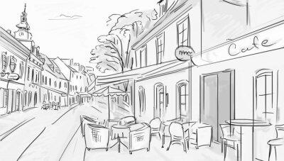 Fototapeta Ilustracja do starego miasta - szkic