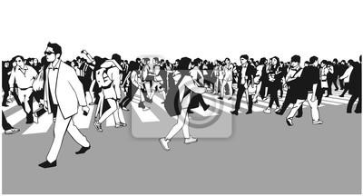 Ilustracja dużych mieszanych etniczne tłumu przekraczania zebra