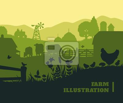 Fototapeta Ilustracja Farm tło, kolorowe elementy sylwetki, płaskie
