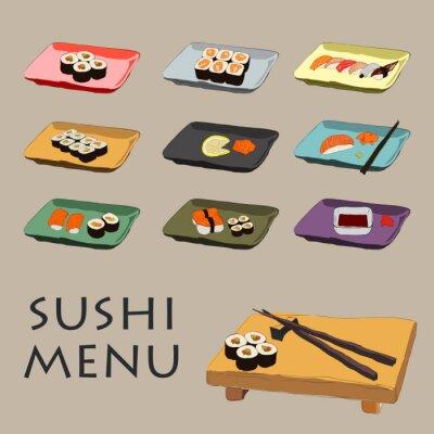 Fototapeta Ilustracja ikony różne kawałki sushi z pałeczki