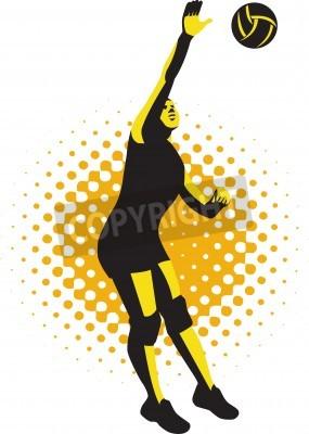Fototapeta Ilustracja kobiet siatkarza skoków wybijanie ball wykonane w stylu retro.