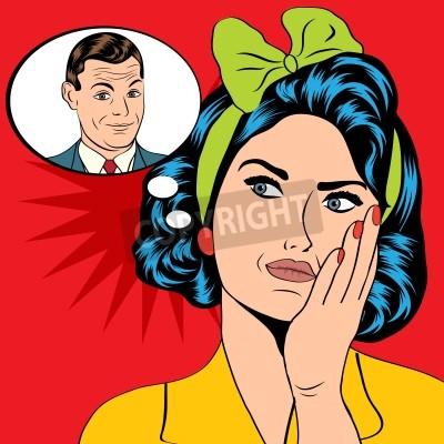 Fototapeta Ilustracja kobiety, która myśli człowieka w stylu pop art, formacie wektorowym
