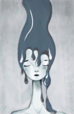 Fototapeta ilustracja kobiety smutny, przygnębiony