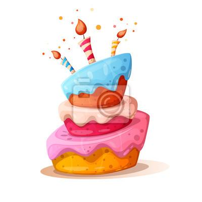 Fototapeta Ilustracja kreskówka tort ze świecą. Wszystkiego najlepszego. Wektor eps 10