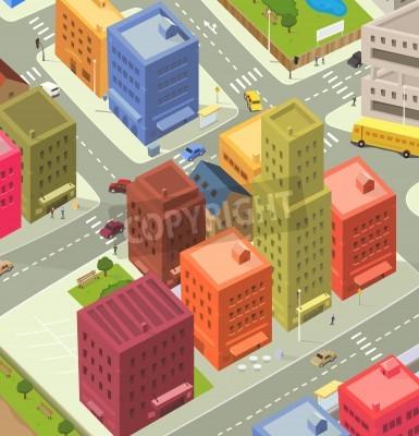 Fototapeta Ilustracja Kreskówki Scenie życia Miasta Widok Z Lotu
