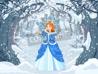 Fototapeta Ilustracja księżniczka z ptakiem blisko do Magic Winter Castle