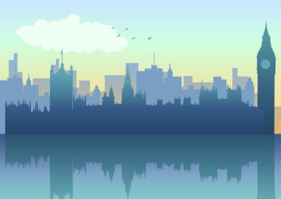 Fototapeta Ilustracja London Skyline w sylwetce