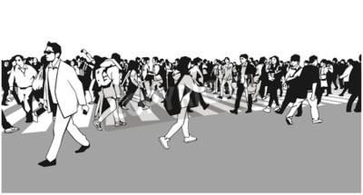 Ilustracja mieszana etniczna tłumu skrzyżowania ulica