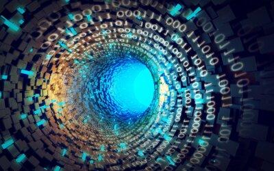 Fototapeta Ilustracja niebieski tunelu danych abstrakcyjny styl